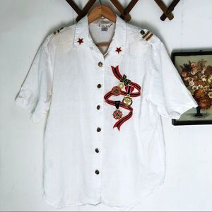 Vintage Military Style Button Down Top